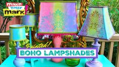Make boho lampshades with a #GelPress and #DecoArt paints!