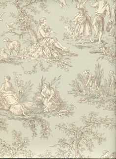 black toile de jouy wallpaper - Google Search