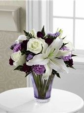Purple & White Flowers In A Purple Vase. Thinking of my Bouquet in my birthday.