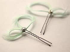 Mint Green Feather Fascinator - Hair Pin - Bridal Party Bridesmaids Gift - Prom - Maid of Honor - Wedding Accessories