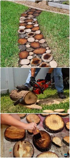DIY Wood Log Garden Pathways Instructions - Raw Wood Logs and Stumps DIY Ideas Projects