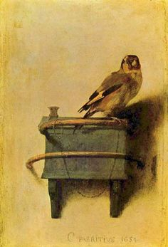 "Carel Fabritius: ""The Goldfinch"", 1634. Oil on panel. Mauritshuis, the Hague, Netherlands. on display now at the Frick Collection, NYC"