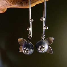 Blueberry Sterling Silver Earrings Handmade Metalwork by elfi74, $63.00