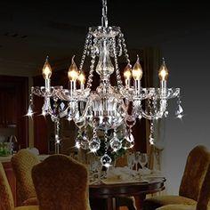 "Ella Fashion Classic Vintage Crystal Candle Chandeliers Lighting 6 Lights Pendant Ceiling Fixture Lamp for Elegant Decoration D23.6"" X L47.2"""