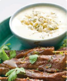 Cocoa Skirt Steak Skewers with-White Chocolate Gorgonzola Dipping Sauce