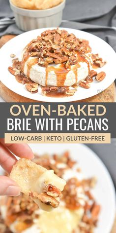 This baked brie recipe is full of flavor and easy to make when you are having guests over. Made with mild brie cheese and topped with pecans, this dish is perfect for dipping keto crackers into or drizzling over fresh berries!