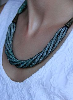 Green necklace Ombre Necklace Statement by AllAboutHandmade1