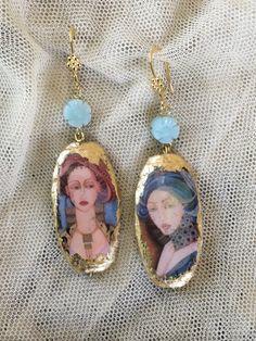 """Earrings with silver leaf. """"Women"""""""