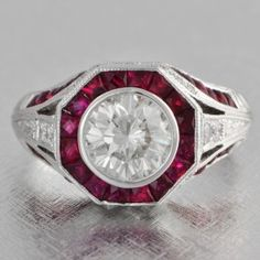 Vintage Inspired Diamond and Ruby Ring $8,999.00