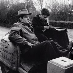 François Truffaut and Jean-Pierre Léaud during the production of The 400 Blows (1959).
