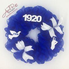 Devine Nine, Zeta Phi Beta, Sorority And Fraternity, Royal Blue, Blue And White, Wreaths, Halloween, Door Wreaths, Deco Mesh Wreaths
