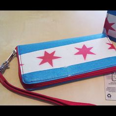 Chicago flag wristlet