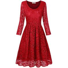 Juniors' Floral Lace 3/4 Sleeve A Line Round Neck Pleated Swing Cocktail Party Dress *** Visit the image link more details. (This is an affiliate link) #Clothing
