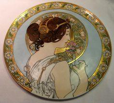 """HUGE 18"""" Antique T Limoges Art Nouveau Alphonse Mucha Style Charger"""