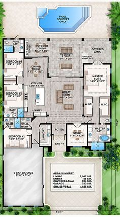 Coastal Home Plans - Crestview Lake Love the Plan - move to basement, move garage to spot House Layout Plans, New House Plans, Dream House Plans, House Layouts, House Floor Plans, My Dream Home, Dream Houses, Ranch Floor Plans, Sims 4 Houses Layout