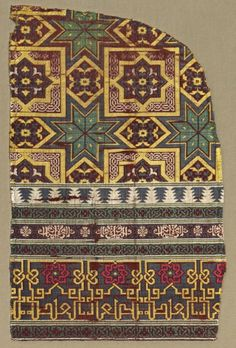 Fragment from a Large Curtain, 1300s Spain, Granada, Islamic period, Nasrid period, 14th century lampas: a combination of two weaves, twill weave and plain weave; silk