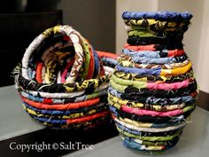 SaltTree: DIY Fabric Scrap Bowl. author said it went quicker than she expected, so don't be intimidated. I love the eclectic style.  I would try to make a rectangle basket? I wonder if that would work.