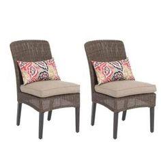 Hampton Bay Woodbury Patio Dining Chair With Textured Sand Cushion 2 Pack