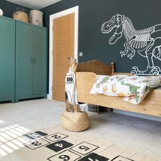 DINOSAUR T-REX SKELETON GIANT WALL STICKERS : choose your color from our chart • (XXL) : 190 x 105 cm