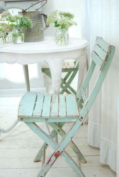 "A white French Table and Aqua French Bistro Chairs would look great on My Little Cottage ""front porch to be."" Inside my cottage there reside already two white French Bistro chairs next to my French-inspired white drop-leaf table. In our garage, there are two additionall French Bistro chairs, each having a broken seat slat. Perhaps they can be fixed? FRENCH COUNTRY COTTAGE: Inspiration: Aqua"