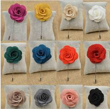 1 Piece Hot Lapel Flower Camellia Handmade Boutonniere Stick Brooch Pin Men's Accessories in 16 Colors(China (Mainland))
