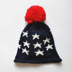 FunShop Women's Full Stars Pattern Knitted Hat with Pom Pom Knitted Beanies for Girls D1117