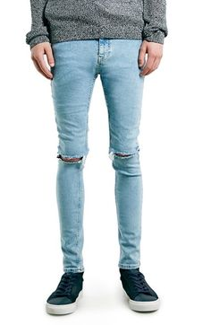 1509494b7f9 Free shipping and returns on Topman Ripped Spray On Skinny Fit Jeans at…  Light Blue
