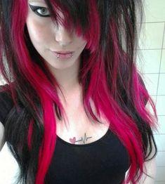 Ideas For Hair Color Pink Black Eye Makeup Hair Color Pink, Hair Color For Black Hair, Pink Hair, Pink And Black Eye Makeup, Pink Black, Dark Blue, Color Black, Colour, Purple