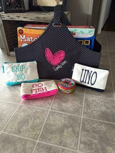 Thirty-One catch-all bin. Great storage idea for family game night fun!