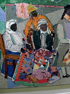 The American Visionary Art Museum in Baltimore Romare Beardon mosaic of a quilting party.