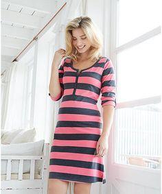 Grey and Pink Maternity Night Dress