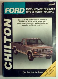 #'Ford F 100 F 150 F 250 F 350 Pickup Trucks Bronco Repair Manual 1976 1986