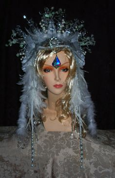 Handmade by Sarieka. Item is unique and may not be symmetrical. Winter Goddess, Snow Outfit, Ice Princess, Snow Queen, Christmas Art, Yule, Headdress, Cosplay Costumes, Diy And Crafts