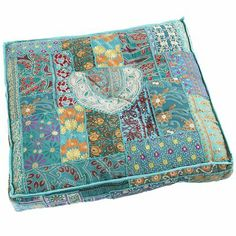 Make!  Break out the sewing machine, open up those fabric bins!  Sari Patch Floor Cushion - Teal
