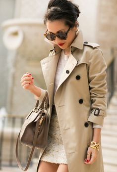 British artist Jessica May Underwood wears a Burberry trench coat on ... 7ecf10d22f