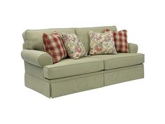 Shop for Broyhill Emily Sofa with Pillows, 443158, and other Living Room Sofas at Talsma Furniture in Hudsonville, Holland, Byron Center, Grand Rapids / Cascade MI. Create the cottage-style room of your dreams. The Emily Sofa is lovely and traditional, with sock arms and a pleated skirt.    Body Cover is 100% Polyester, Clean Code S.