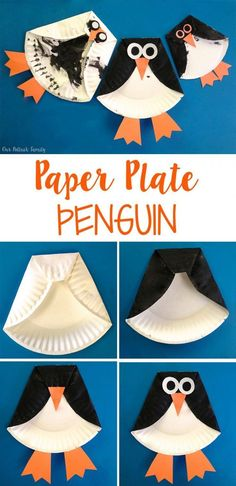 Penguin Craft Paper Plate Penguin - Our Potluck Family Paper Plate Art, Paper Plate Animals, Paper Plate Crafts For Kids, Paper Plates, Winter Crafts For Toddlers, Summer Crafts For Kids, Toddler Crafts, Spring Crafts, January Crafts