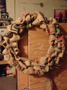 I used a burlap coffee bag to make this wreath!