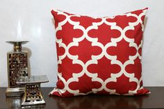 Timberwolf Red and Ivory Quatrefoil Pillow by TheRestingPlace