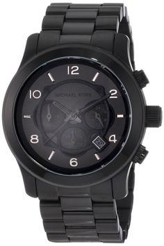 Michael Kors Watches Michael Kors Men's Black Leather Chronograph Sport, (best deal, great deal, mens gift, mens watch, michael kors, michael kors watch, watches)