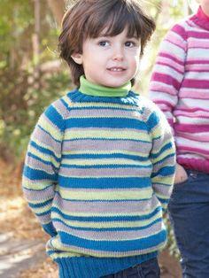 Kids Top-Down Striped Sweater | Yarn | Free Knitting Patterns | Crochet Patterns | Yarnspirations