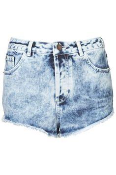 MOTO Acid Wash Denim Hotpants - Hotpants  - Shorts