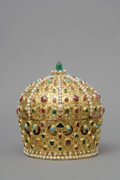 The crown Stefan Bocskai,Europe | | - Romania. Persian c. 1600 Gold, rubies, spinels, emeralds, turquoises, pearls, silk H 23.2 cm, Diam. 18.8 cm-22 cm