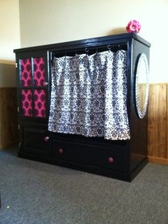 My entertainment center turned into storage for dress up Clothes! DIY Dress up Wardrobe/ Center