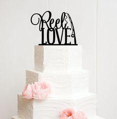 Reel Love Fishing Wedding Cake Topper - Custom Cake Topper - 0007