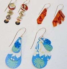 Earrings cut from metal tins - cookie tins, pie tins, etc... love recycled jewelry