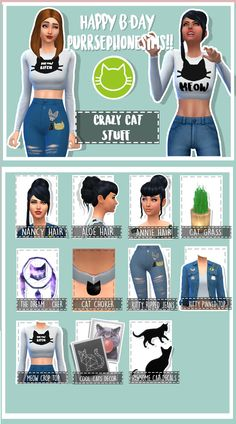 "giannisk-13: ""  ~Crazy Cat (Lady) Stuff~ ~Notes~ • You get 11 items ( 7 for CAS and 4 for Build Mode) • Base Game Compatible • Game tested • Cat Themed (duh) • Maxis Match (-ish, some stuff more than..."