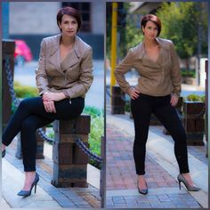 Black skinny jeans and a biker jacket always looks fierce #skinnyjeans #bikerjacket #over50style
