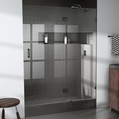 $575 - null 60.5 in. x 78 in.  Frameless Glass Hinged Shower Door in Oil Rub Bronze
