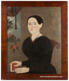 """""""Prior-School"""" folk art portrait of a pleasant young woman seated in a scrolled chair with book, rose, and landscape embellishments.  Attributed to George Hartwell, ca. 1830-1840."""